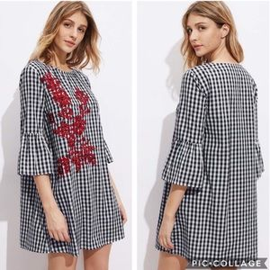 EUC SHEIN Fluted Vine Embroidered Gingham Dress
